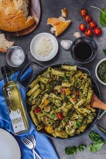 Garlic Roasted Vegetable Pesto Pasta by The Olive & Mango