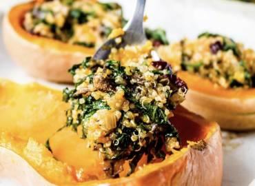 Mushroom and Kale Stuffed Squash