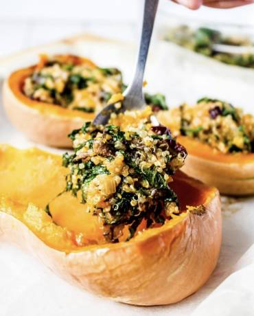 Mushroom and Kale Stuffed Squash