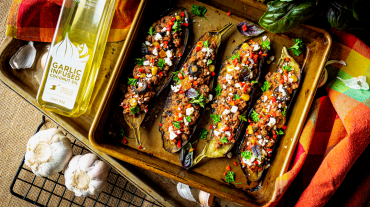 Turkish Karniyarik inspired Stuffed Eggplants